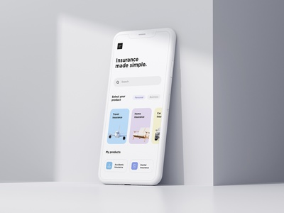 Insurance Made Simple android app design illustration fashion minimalistic light cards homepage homescreen care dental accidents car home travel search product design android ios app