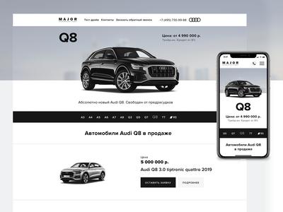 Landing page for Major Auto (Audi Q8)