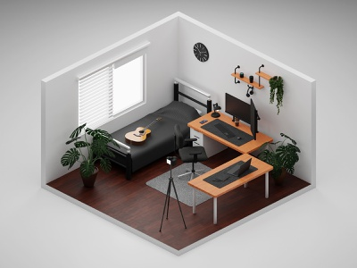 Home Studio 3D Isometric Model room laptop pc job work from home remote work workspace work studio home studio home cycles blender 3d illustration architecture isometric 3d isometric design illustration 3d