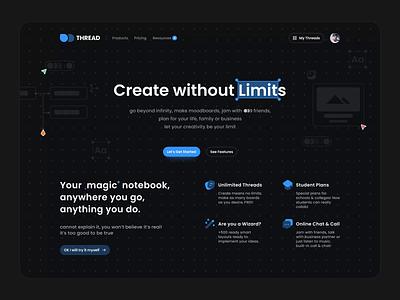 Thread Header UI & Animation Concept branding design illustration motion after effects animation top header landing user interface ui