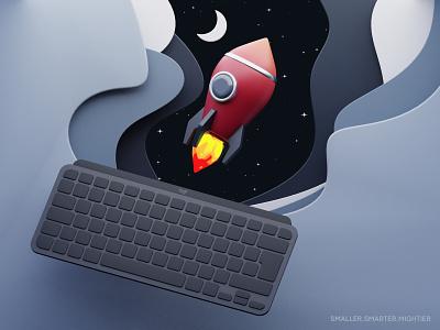 Space Voyage - Logitech MX Mini 3drender cycles cinema4d keyboard spaceship space blender 3d illustration illustration 3d