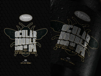 Ocular Double IPA dark beer bottle package design brewery brewing pollyanna brewing gold black honey bee beer label beer