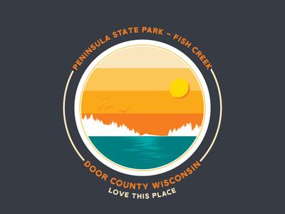 Door County, WI Badge national park travel print design lake sunset flat design illustration badge