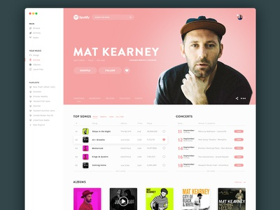 Mat Kearney Spotify concept uidesign ui music app music streaming spotify