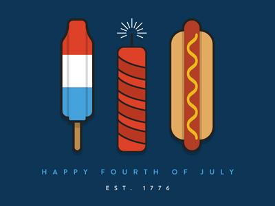 Fourth Of July minimal ilustrator america blue white red hot dog firework rocket pop flat illustration fourth of july