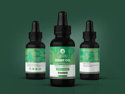 """Hemp Oil Label for """"HEMP MIND"""" cbdgummies cbd logo cbd design hemp label design hemp hempoil cbd label design cbd products cbd packaging cbd oil cbd"""