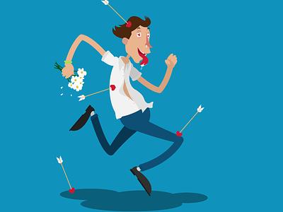 Сupid's arrow in love enamored flower vector illustration caricature cartoon character running boy love arrow cupid