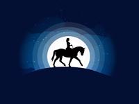 Illustration - Stallion Rider moonlight black stallion rider night silhouette design minimal moon horse riding girl nature sky wild illustration illustartor tutvid
