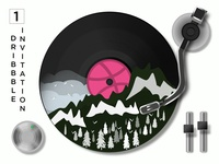 FREE Invite to Dribbble for an Aspiring Designer. ui ux retro music record player mountain vinyl lp record illustrator member free invite free invitation giveaway dribbble best shot dribbble invite dribbble