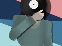 Retro Illustrator - LP illustration art poster party sunset beach minimalist hat ui ux music record player lp vinyl retro illustration