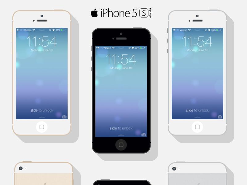 Freebie: Flat iPhone 5s Mockups iphone 5s flat flat design graphic design web design mockup