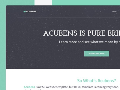 Website Template: Acubens single page landing page psd website template free freebie