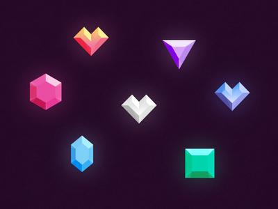 Freebie // Icons: Gems & Diamonds shine set rihanna jewellery jewelery icons icon glow diamond psd gemstones gems