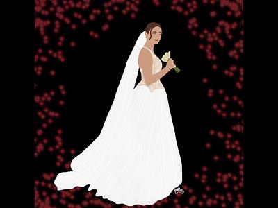 Here Comes The Bride bride portrait wedding dress anniversarygifts wedding illustration photo illustration flat portrait illustration design