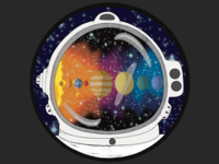 Outer Space Traveler stars galaxy cartoon reflection sun spaceman astronaut helmet milky way planets astronomy astronaut space illustration design