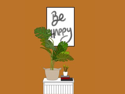 Plants make me happy be happy lettering monstera flat illustration planter plants flat portrait photo illustration illustration design