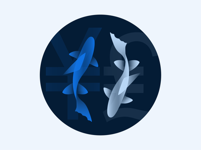 RippleNet Empty State Illustration 4 partner partnership fishes fish currency euro yen money ripplenet illustration icon empty state brand blockchain ripple
