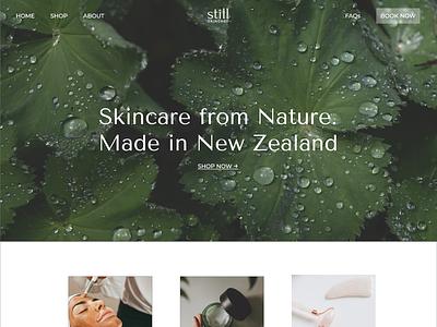 Still Skincare Homepage skincare website design minimal web design