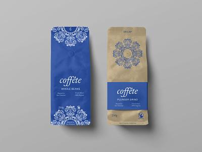 Coffete Coffee Bags icon typography coffee shop packaging logo illustration branding minimal design