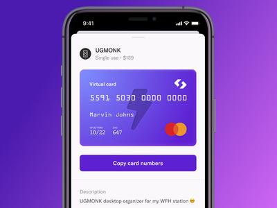 Spendesk: Virtual card on mobile card design ui interface design app mobile