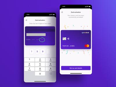 Spendesk: Card activation on mobile card interface design ui mobile