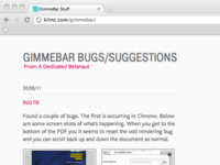 GimmeBar Bug/Suggest Page