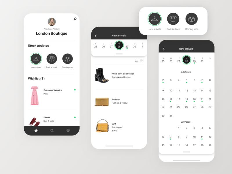 Stock  managemenr with calendar update calendar exploration retail ecommerce stock management stock mobile design mobile app mobile ui mobile