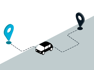 Infographic journey A to B flat design isometric map road app car trafic journey