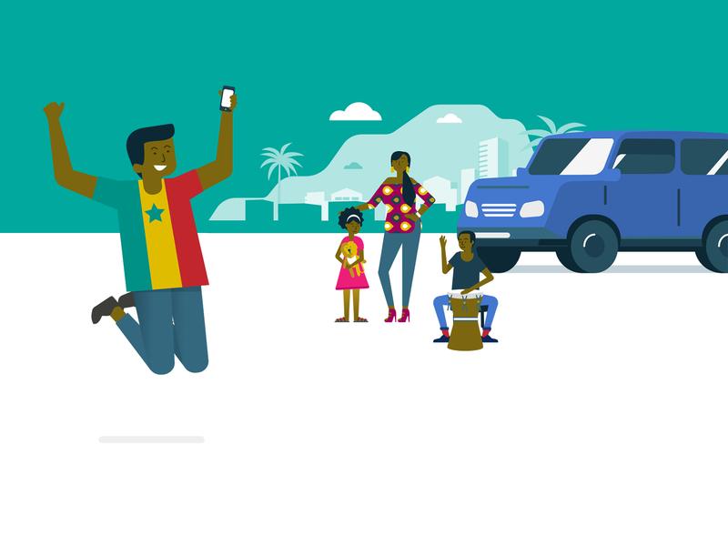 black family in front of their car branding ui design sketch flat design illustration