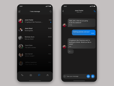 Chat Dark product design chat user experience app design user interface daily ui ux design ui design
