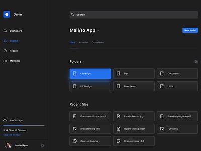 Design Concept File Manager Dark UI dark ui file manager product design user experience app design user interface ux design ui design