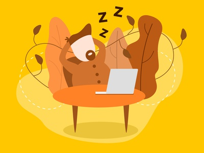 Autumn time design autumn lazy work illustrator dream imagination inspiration leaves team color yellow ui people vector illustration figma