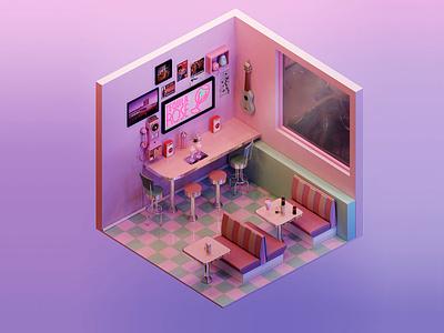 Retro Diner graphic design 3d