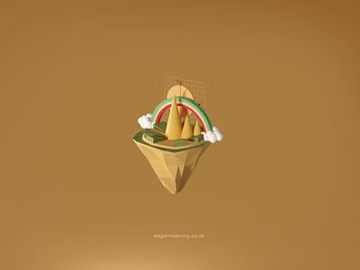 Elegant learning Maths Island icon illustration design branding ux ui graphic design 3d