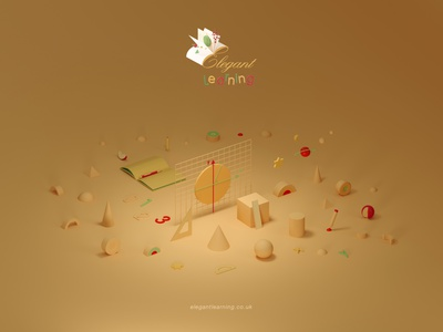 Elegant Learning Key Visual illustration typography ux ui branding design graphic design 3d