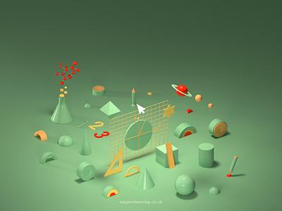 Elegant Learning Key Visual2 ux ui illustration design branding graphic design 3d