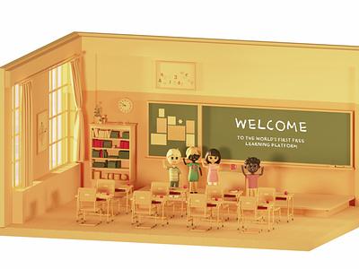 Elegant Learning 3d characters characters illustration logo ux ui branding design graphic design 3d