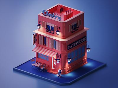 Claire Patisserie coronarender render 3dsmax pinkblue lowpoly ux ui design illustration graphic design 3d