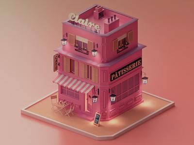 Claire Patisserie coronarender render lowpoly pink 3dmodeling design typography ux ui illustration 3d