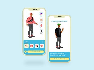 Game Character Builder ux design uxui app ui characterbuilder characterdesign character builder game design app design blush illustrations blush appdesign illustration uidesign app interface flat ux minimal design ui