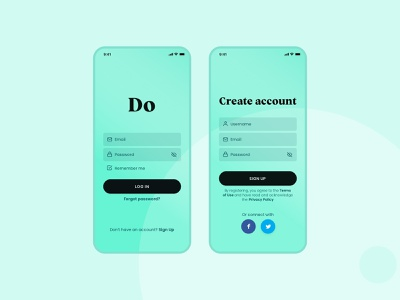 DO Task App ui design task management mobile design mobile app mobile contrast signup log in task app
