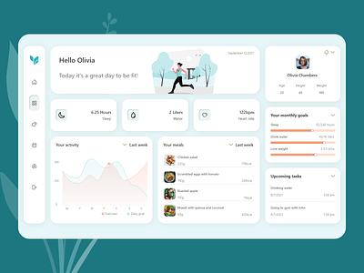 Fitness Dashboard health ux design light theme fitness dashboard ui