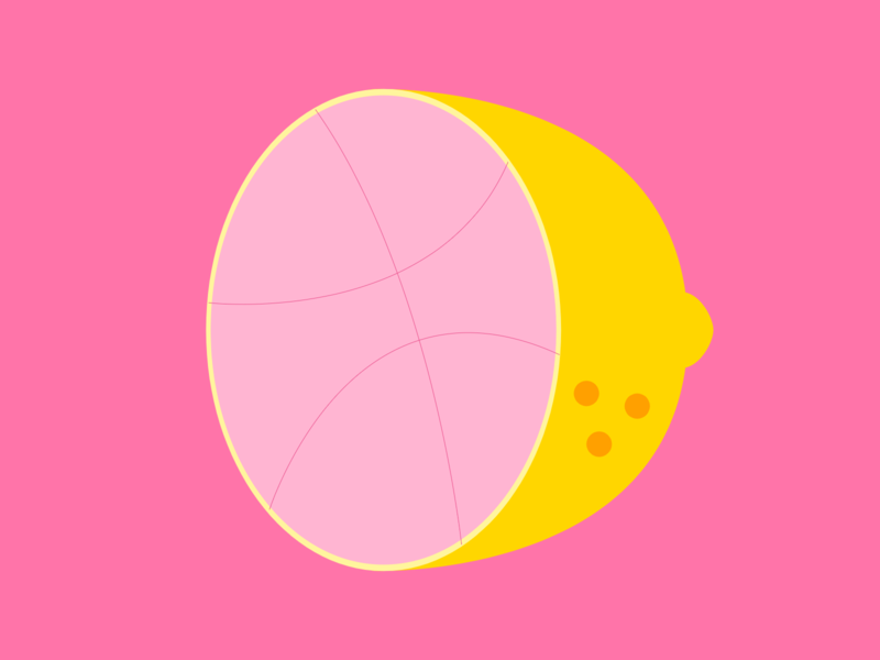 Dribble Lemon (Variation 1) dark pink pink dribbble vegetable fruit food citrus lemon flat web icon ux vector ui typography branding app logo illustration design