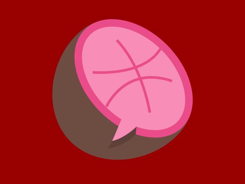 Dribbble Coconut coconut dark pink pink colours dribbble logo design icons typogaphy ux logo branding app design minimal animation flat web icon vector illustration