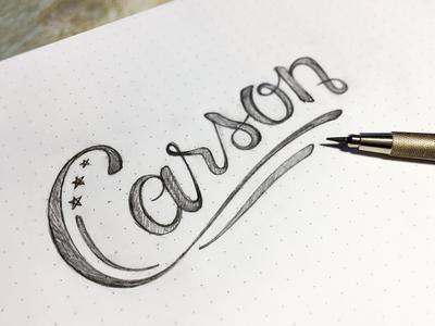 Carson Lettering sketch pencil lettering hand president carson ben