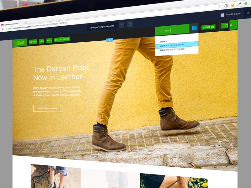 Teva Prototyping with InVision navigation invision input search website header teva