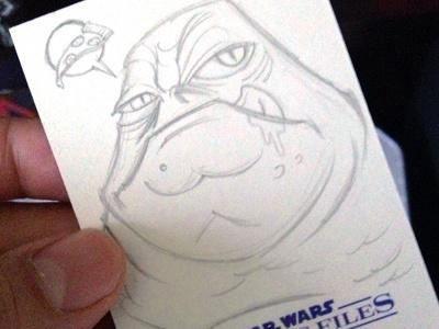 Jabba the Hut star wars jabba sketch trading card illustration
