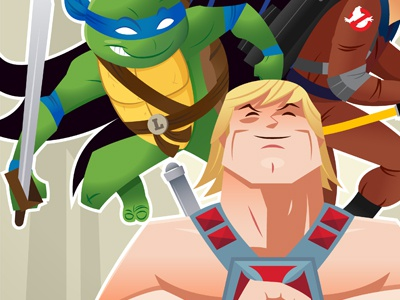 Super Power Hour he-man tmnt illustration vector 80s cartoons gallery