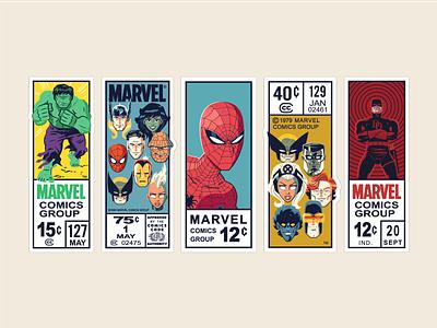 Marvel Corner Box Art digital art avengers x-men daredevil hulk vector character design illustration marvel