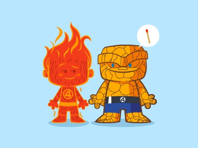 Lil Human Torch & The Thing - Lil BFFs series 2 fantastic four the thing human torch marvel illustration lil bffs
